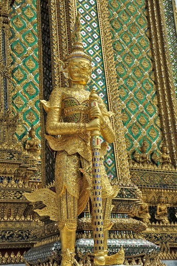 Stock Photo: 2003-602378 Statue at a temple, Wat Phra Kaeo, Grand Palace, Bangkok, Thailand