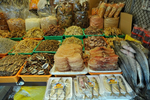 Stock Photo: 2003-602412 Thailand, Chonburi, Ban Saen, Nongmun, Dried seafood: Dried Cobia (Rachycentron canadus) with sesame seeds, Tuna and Mackerel
