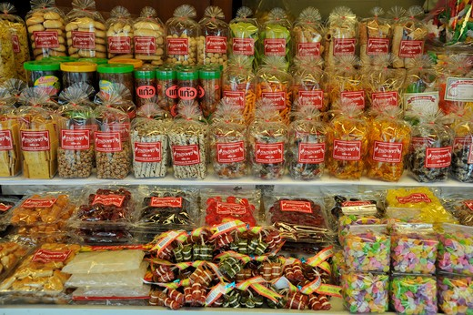 Thailand, Chonburi, Ban Saen, Nongmun, Crackers, candies and other snacks : Stock Photo