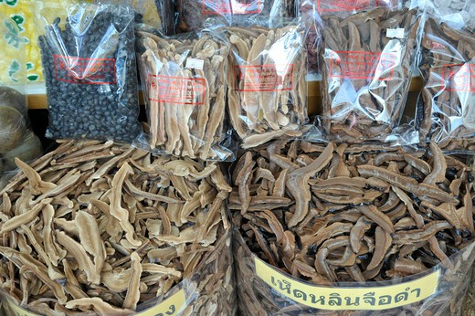 Thailand, Bangkok, Chinatown, Close up of herbs and spices in bags : Stock Photo