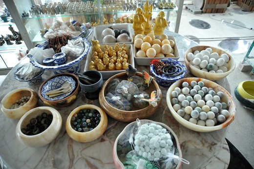 Thailand, Chon Buri, Ban Saen, Close up of craft products on table : Stock Photo