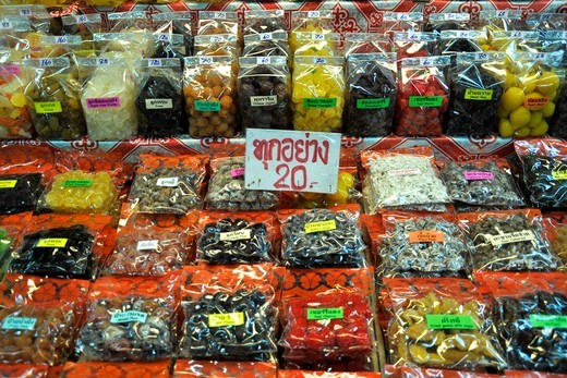 Stock Photo: 2003-602544 Dried fruits for sale at Warorot Market, Chiang Mai, Thailand