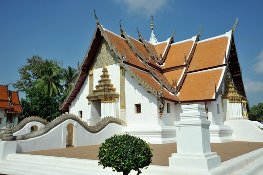 Thailand, Nan, Thai Buddhist Monastery Wat Phumin, founded in 1596 : Stock Photo