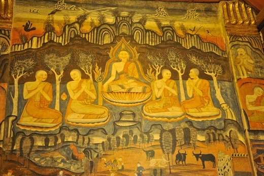 Thailand, Nan, Mural of Buddha and Followers on inside wall of Wat Pumin, Buddhist monastery : Stock Photo