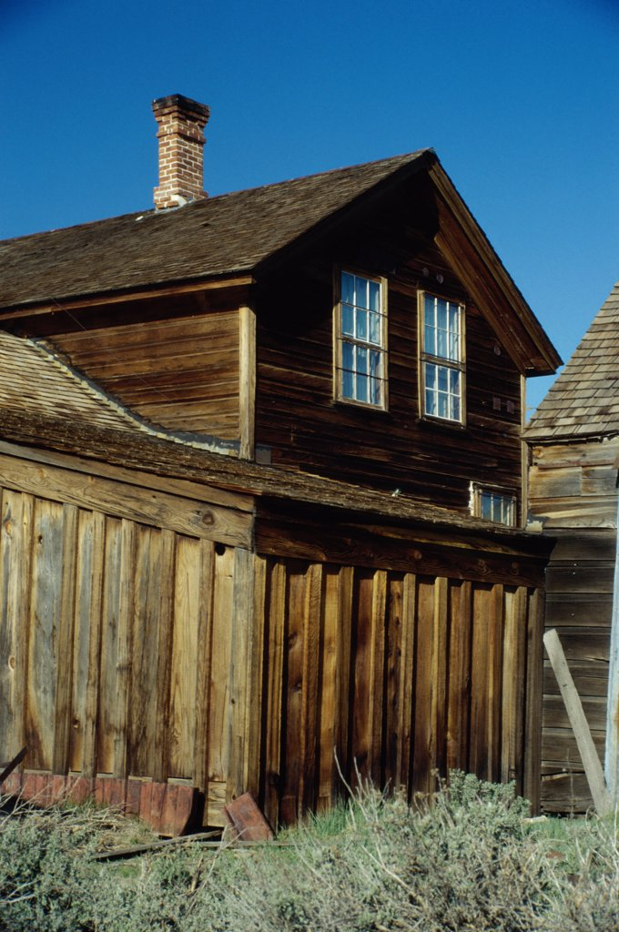 Facade of a cabin, Bodie State Historic Park, California, USA : Stock Photo