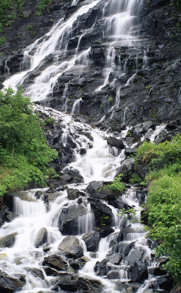 Stock Photo: 2005-1722 Waterfall in a forest, Horsetail Falls, Chugach National Forest, Alaska, USA
