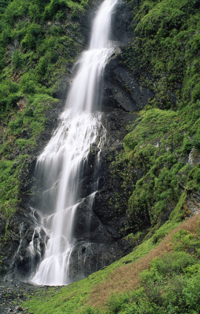 Stock Photo: 2005-1723 Waterfall in a forest, Bridal Veil Falls, Chugach Mountains, Alaska, USA