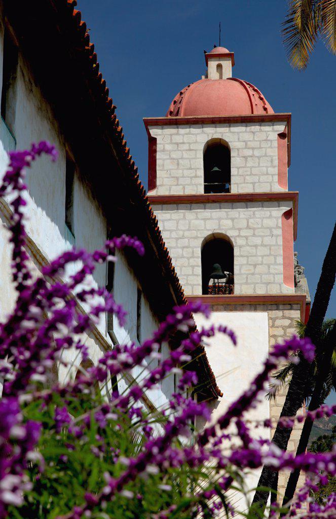 Low angle view of a church, Mission Santa Barbara, Santa Barbara, California, USA : Stock Photo