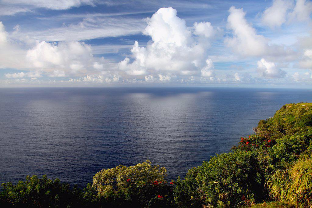 Sunset over the ocean, Waipio Bay, Big Island, Hawaii, USA : Stock Photo