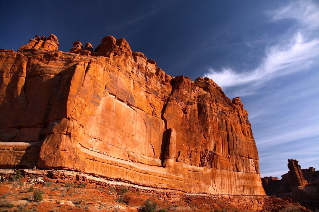 Low angle view of rock formations, Tower Of Babel, Arches National Park, Utah, USA : Stock Photo