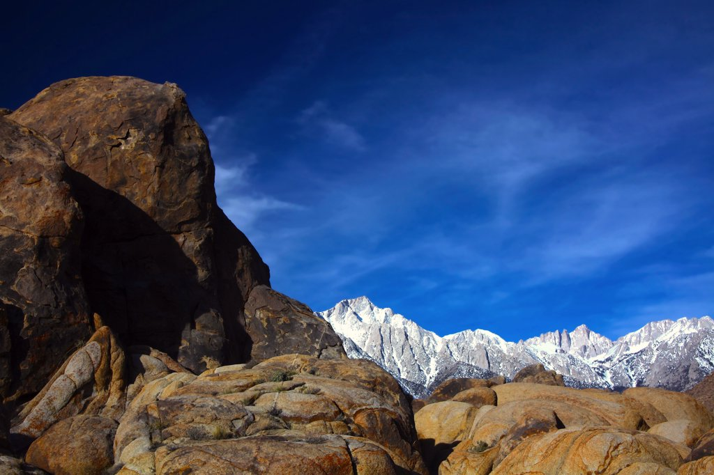 Stock Photo: 2005-594723 Mountains at sunrise, Alabama Hills, Lone Pine Peak, Mt Whitney, Californian Sierra Nevada, California, USA