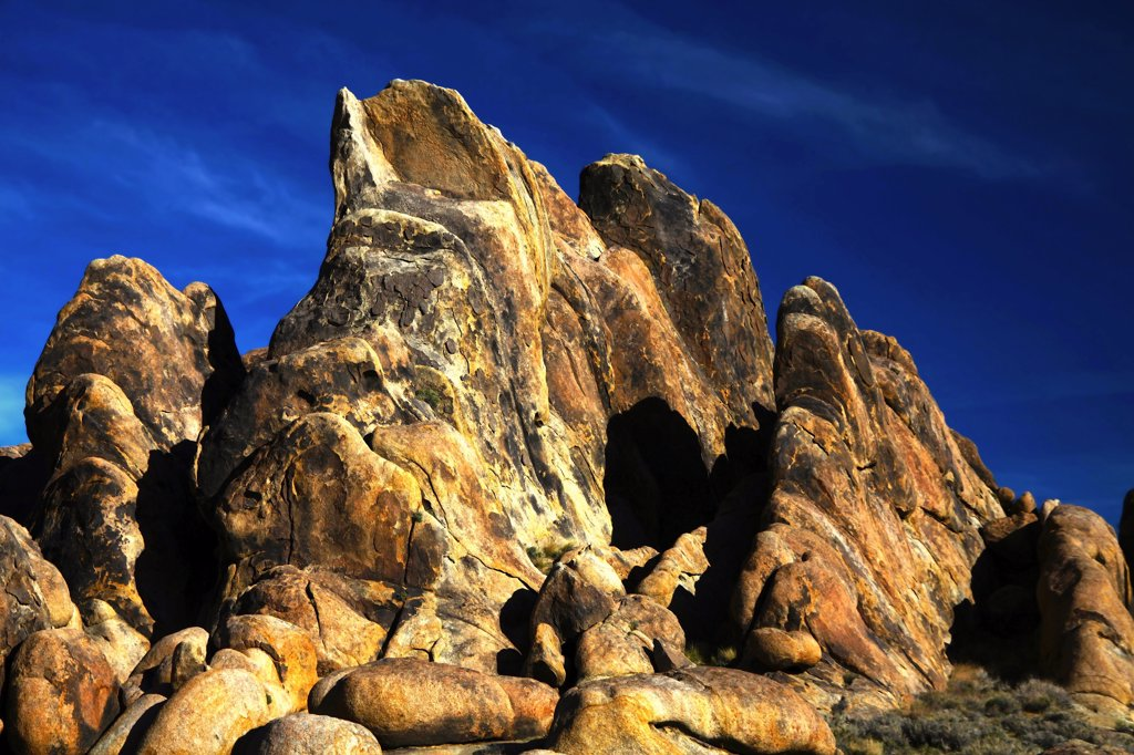 Rock formations on hills, Alabama Hills, Californian Sierra Nevada, California, USA : Stock Photo