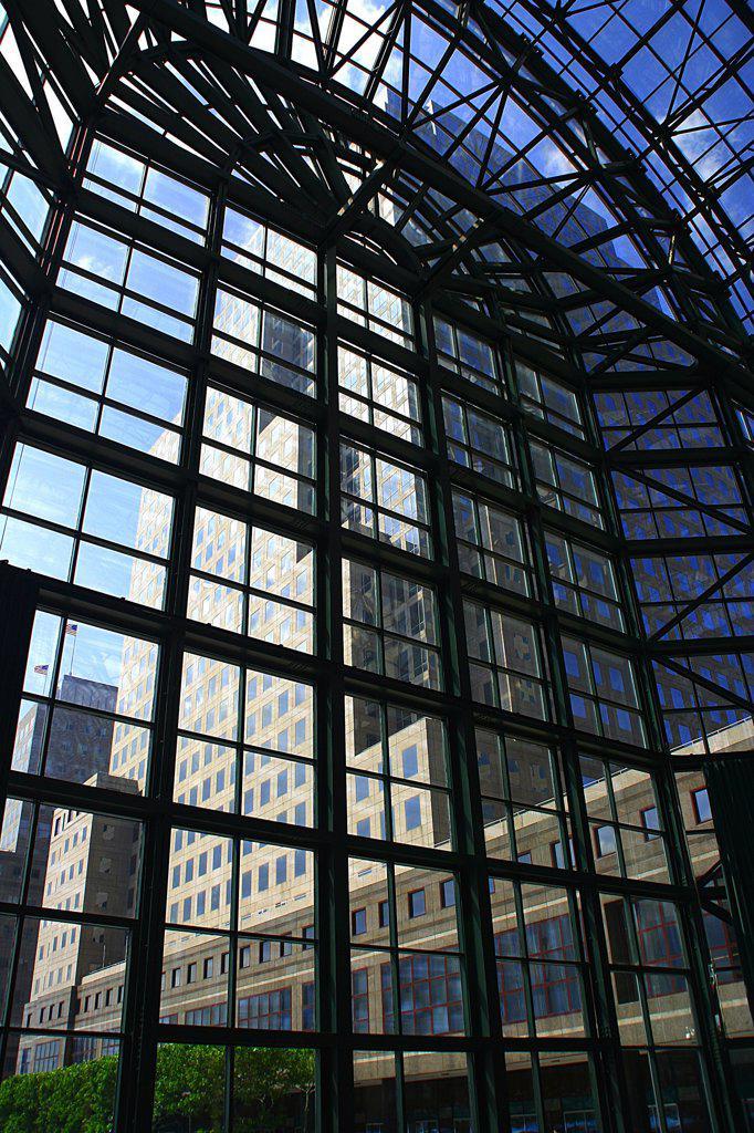 USA, New York, New York City, World Financial Towers seen through Arboretum windows : Stock Photo