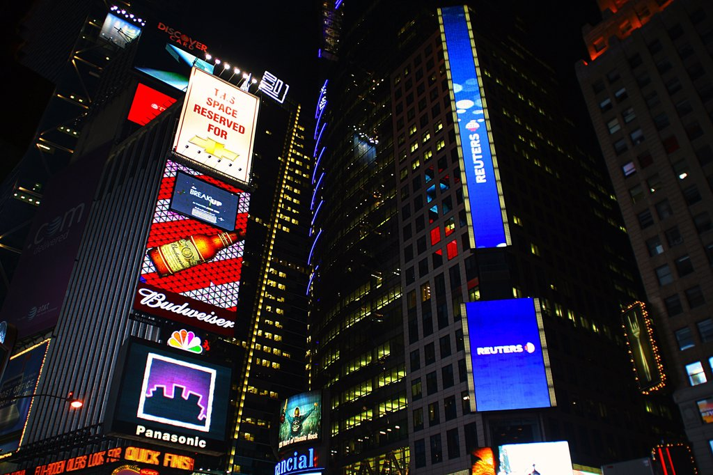 USA, New York, New York City, Times Square at night : Stock Photo
