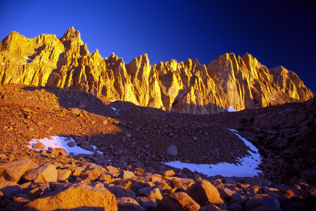 Early AM on Mt Whitney Crest, Sierra Nevada, California : Stock Photo