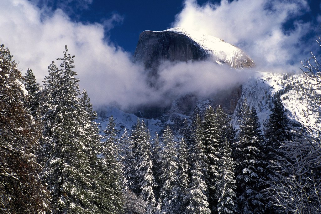 Stock Photo: 2005-594961 Clearing Storm Clouds shroud Half Dome, Yosemite National Park, California