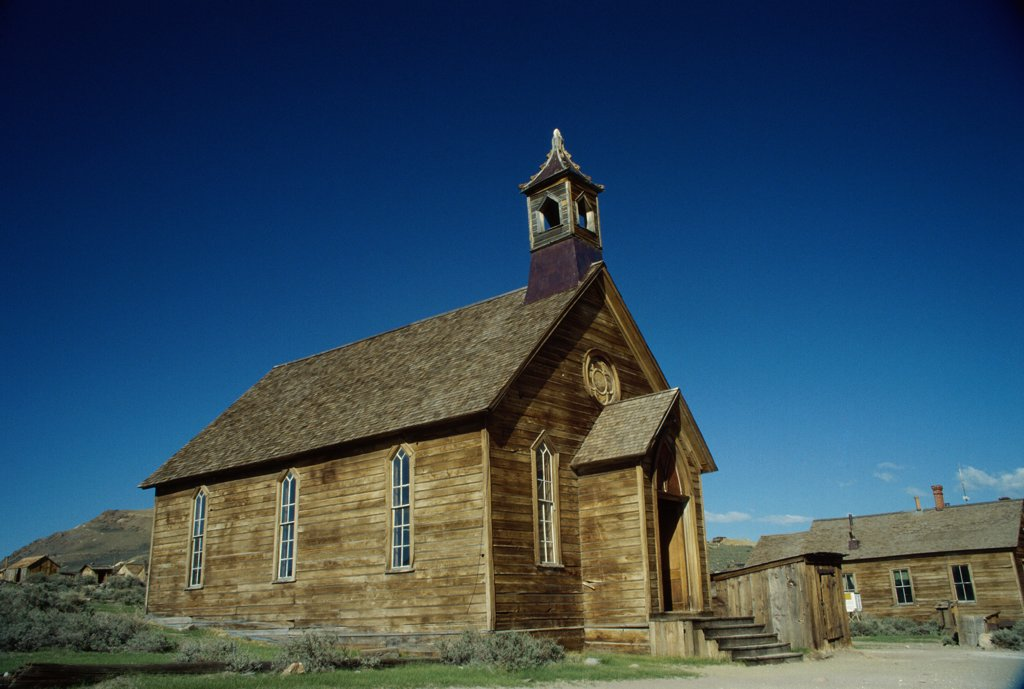 Stock Photo: 2005-767 Low angle view of a Methodist Church, Bodie State Historic Park, California, USA