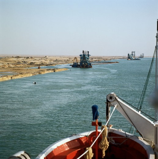 Dredgers in a canal, Suez Canal, Egypt : Stock Photo