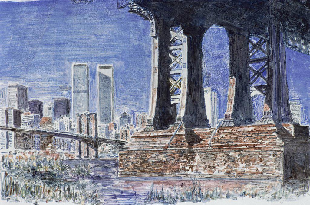 Stock Photo: 2026-270 Under Manhattan Bridge, Brooklyn 1992 Anthony Butera (b.20th C.) Monotype
