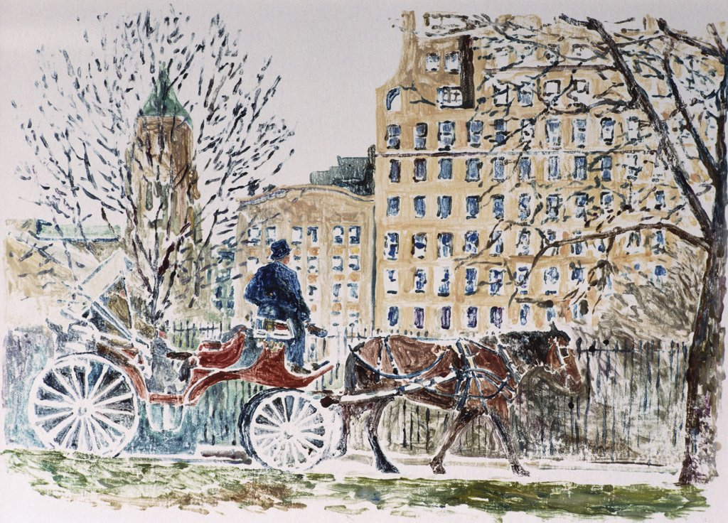 Central Park, Horse and Carriage 1989 Anthony Butera (b.20th C.) Monotype : Stock Photo