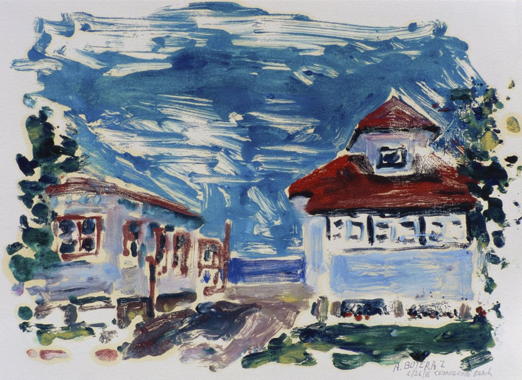 Beach House 1986 Anthony Butera (b.20th C.) Monotype : Stock Photo