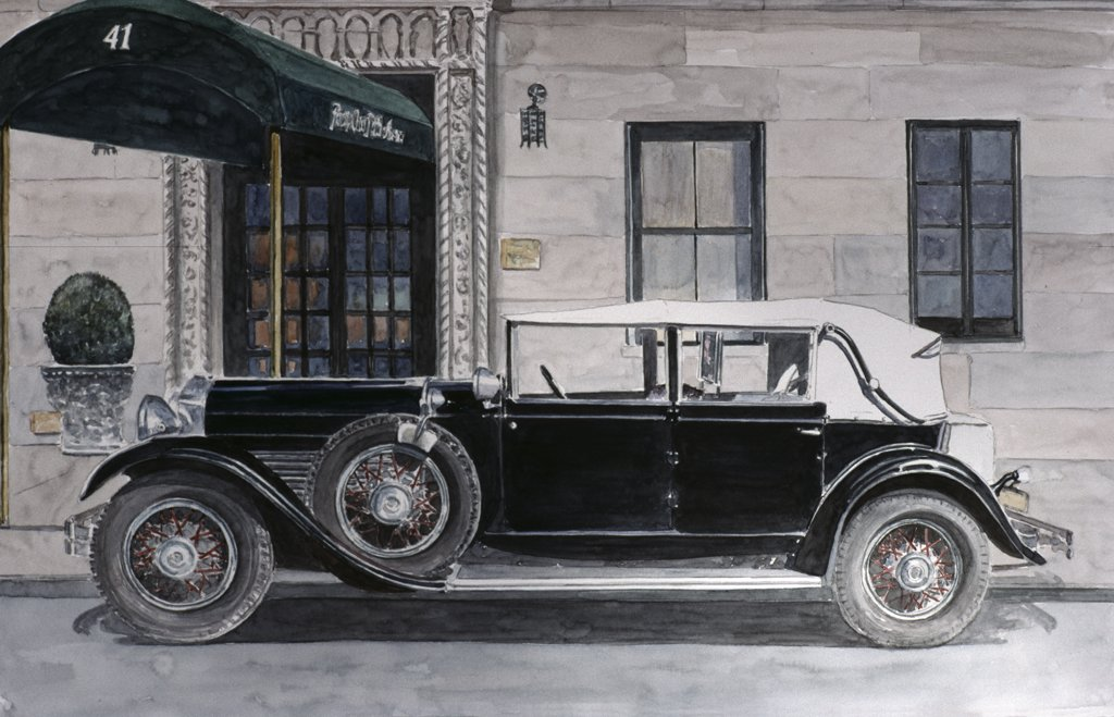 Packard, 12th St., off 5th Ave. NYC 1989 Anthony Butera (b.20th C.) Monotype : Stock Photo