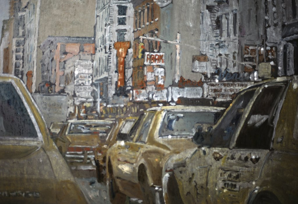 Taxi, NYC, 6th Ave 1990 Anthony Butera (b.20th C.) Watercolor : Stock Photo