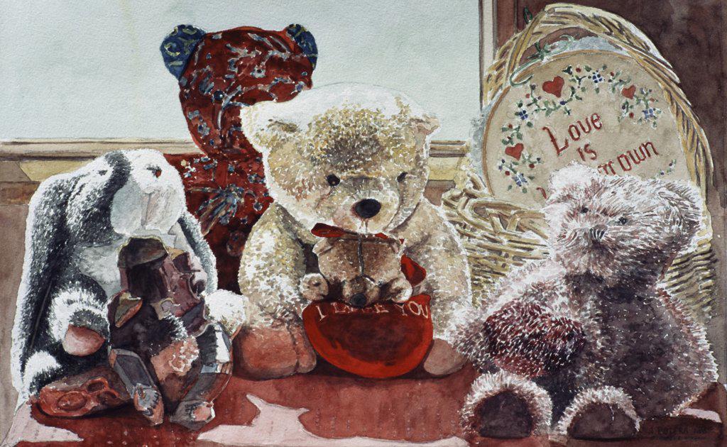 Stock Photo: 2026-403 Teddy Bears 2005 Anthony Butera (b.20th C.) Watercolor
