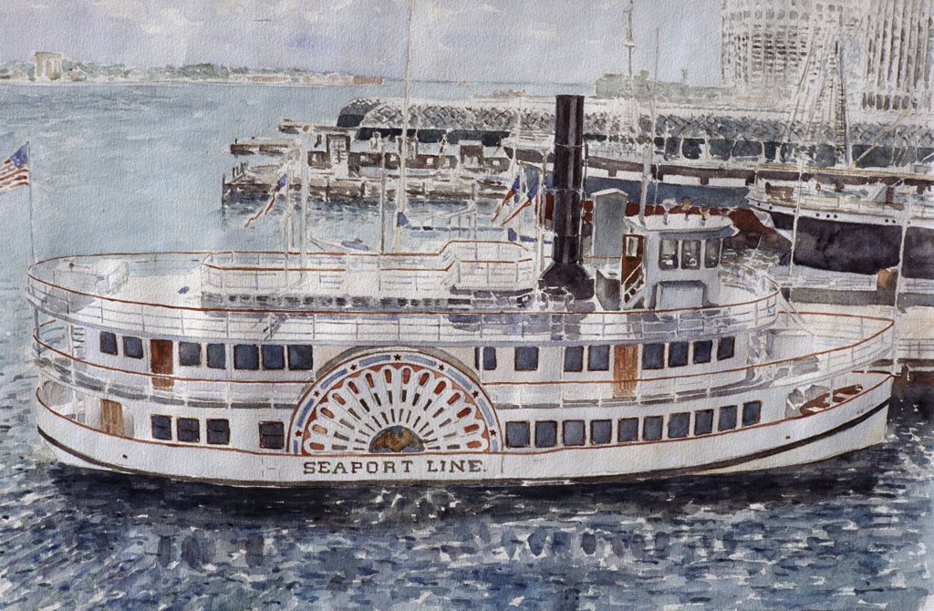 Sidewheeler, South Street Seaport, NYC 1985 Anthony Butera (b.20th C.) Watercolor : Stock Photo