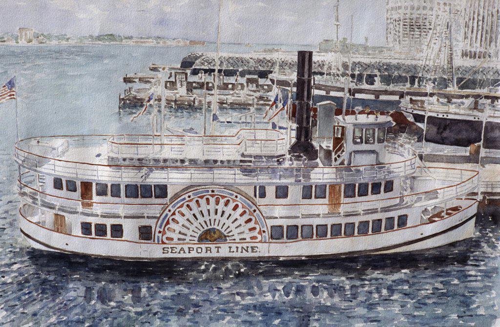 Stock Photo: 2026-405 Sidewheeler, South Street Seaport, NYC 1985 Anthony Butera (b.20th C.) Watercolor