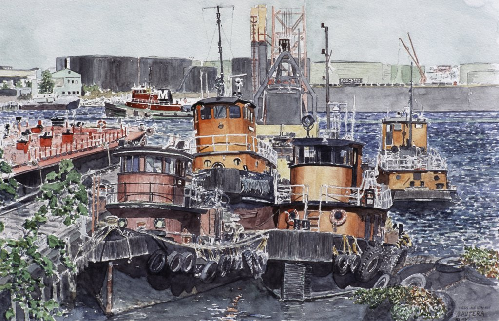 Stock Photo: 2026-407 Tugs, Kill Van Kull 2004 Anthony Butera (b.20th C.) Watercolor