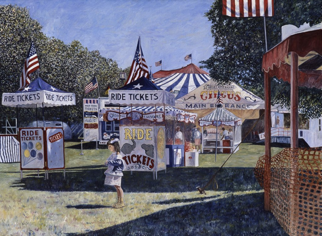 Great American Circus 1985 Anthony Butera (b.20th C.) Oil : Stock Photo