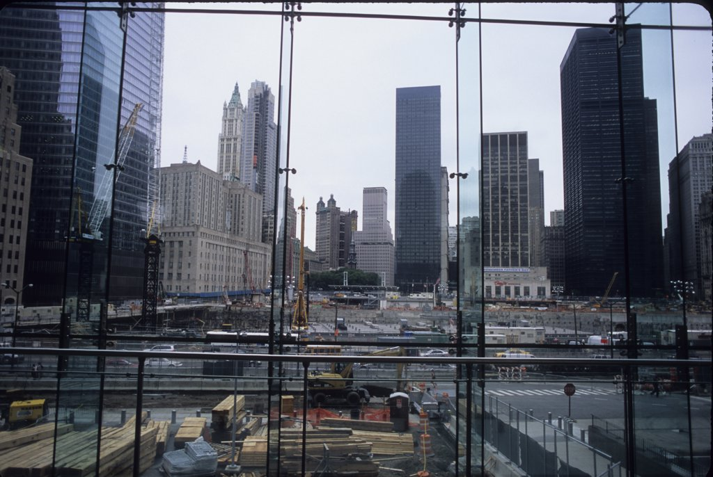 Construction site in a city, Freedom Tower, World Trade Center, Manhattan, New York City, New York State, USA : Stock Photo