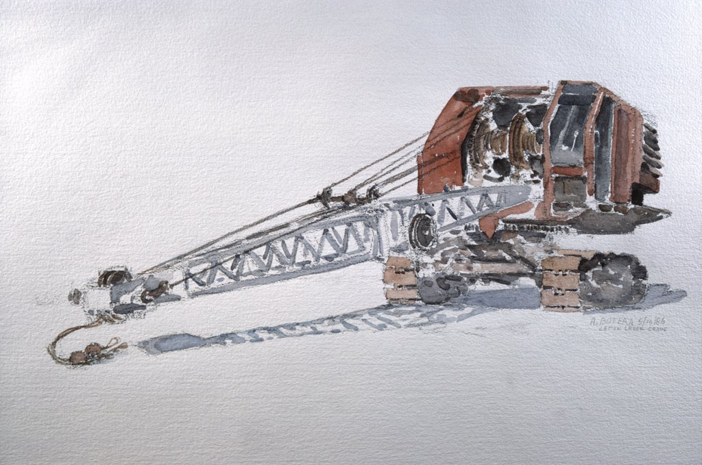 Old Crane, 1989, Anthony Butera, (b.20th C.), Watercolor : Stock Photo