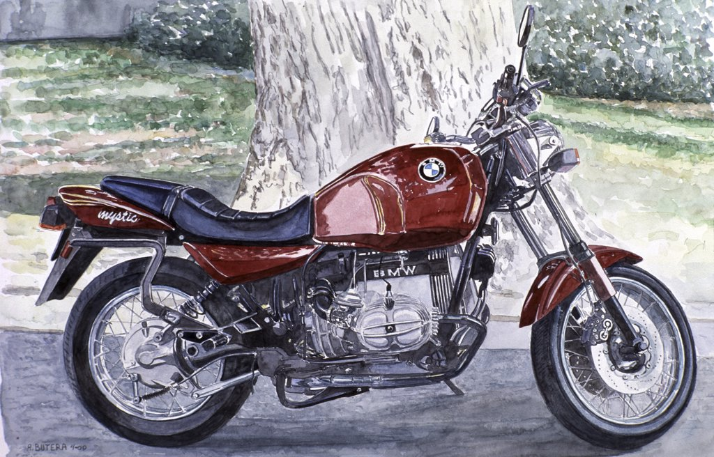Stock Photo: 2026-437 Motorcycle, BMW, 1996, Anthony Butera, (b.20th C.), Watercolor