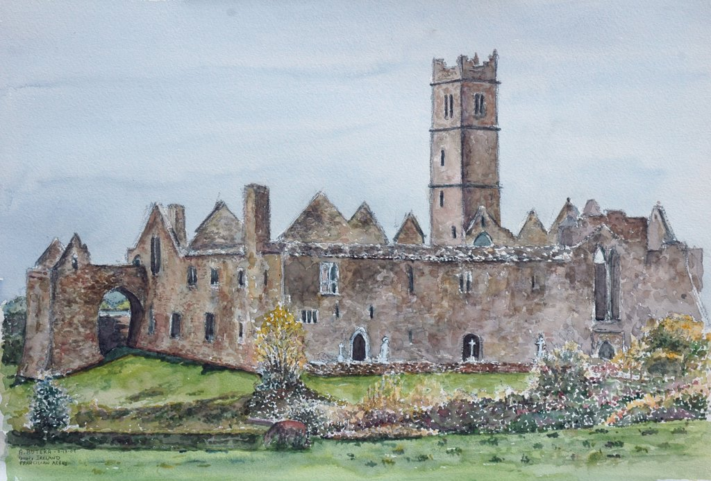 Ireland, Quin, Ruins of Franciscan monastery by Anthony Butera, watercolor, 2009, 21st century : Stock Photo