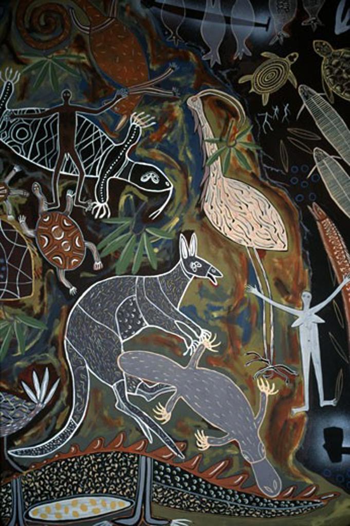 Aboriginal Wall Painting Kuranda, Queensland, Australia Aboriginal Art : Stock Photo