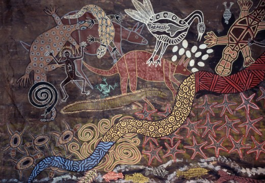Stock Photo: 2032-1196 Aboriginal Wall Painting by the Tjapukai People