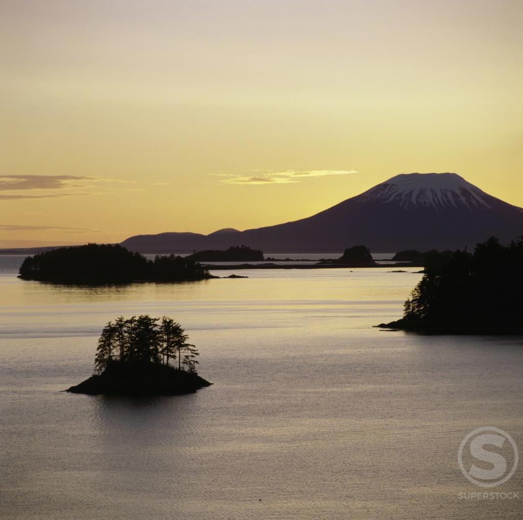 Sunset, Sitka National Historical Park, Alaska, USA : Stock Photo