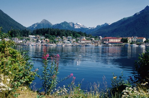 Stock Photo: 2032-2139 Boats docked in a harbor, Sitka, Alaska, USA