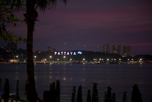 City lit up at the waterfront, Pattaya, Thailand : Stock Photo