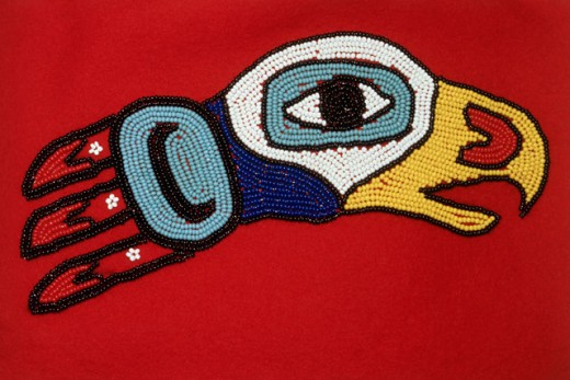 Stock Photo: 2032-793 Eagle Motif Beadwork on a Tlingit Ceremonial Robe