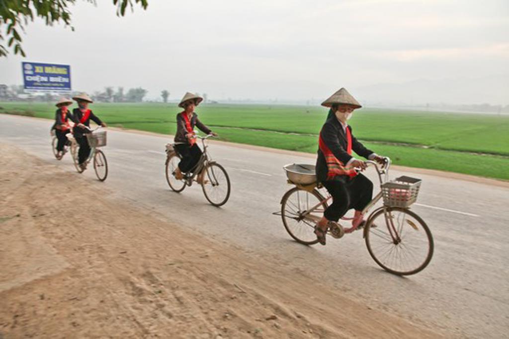 Stock Photo: 2032R-600379 Vietnam, Dien Bien Phu, Minority women with beehive hair style, possibly Black Thai or Black H'Mong