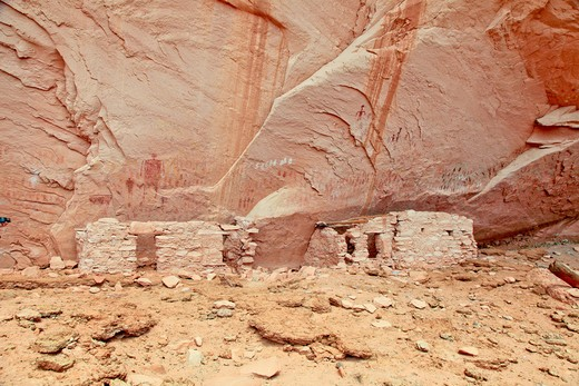 USA, Arizona, Navajo Reservation, Anasazi cliff dwellings : Stock Photo