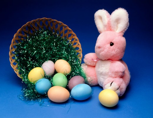 Stock Photo: 204-1118 Close-up of an Easter Bunny with multi-colored eggs