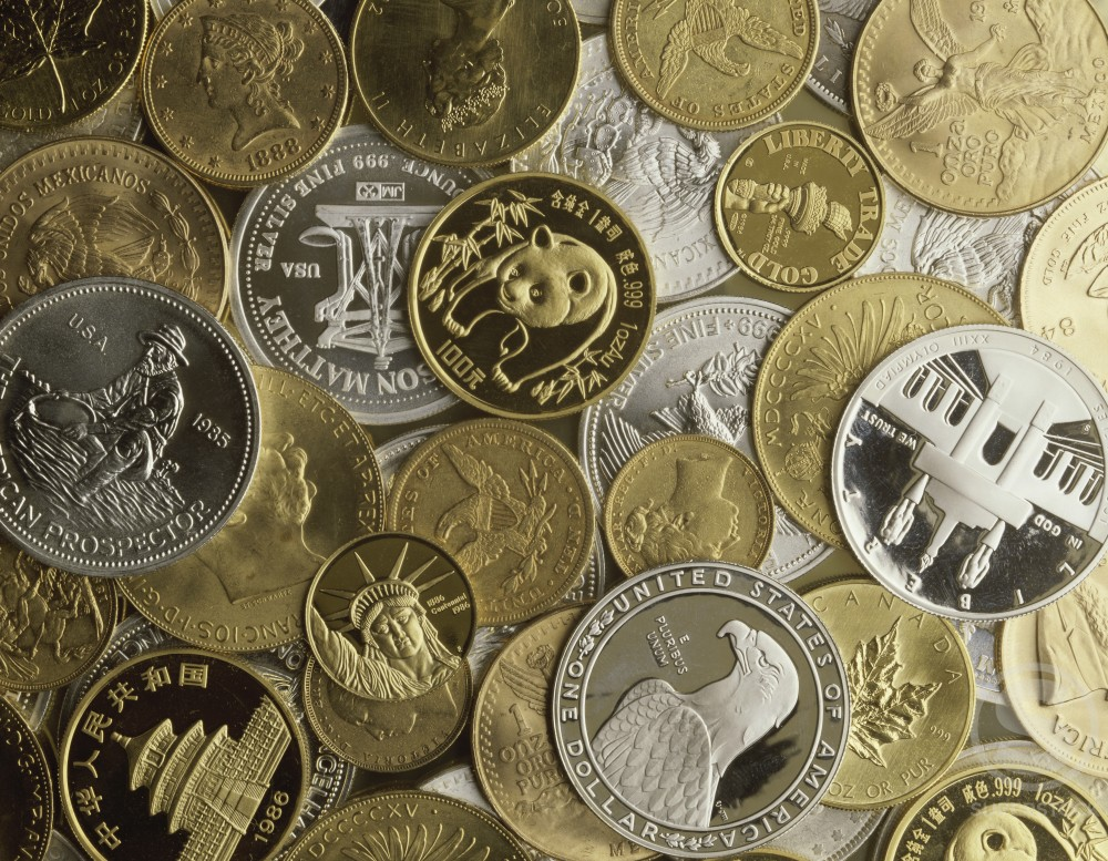 Stock Photo: 204-391 Gold and Silver Coins