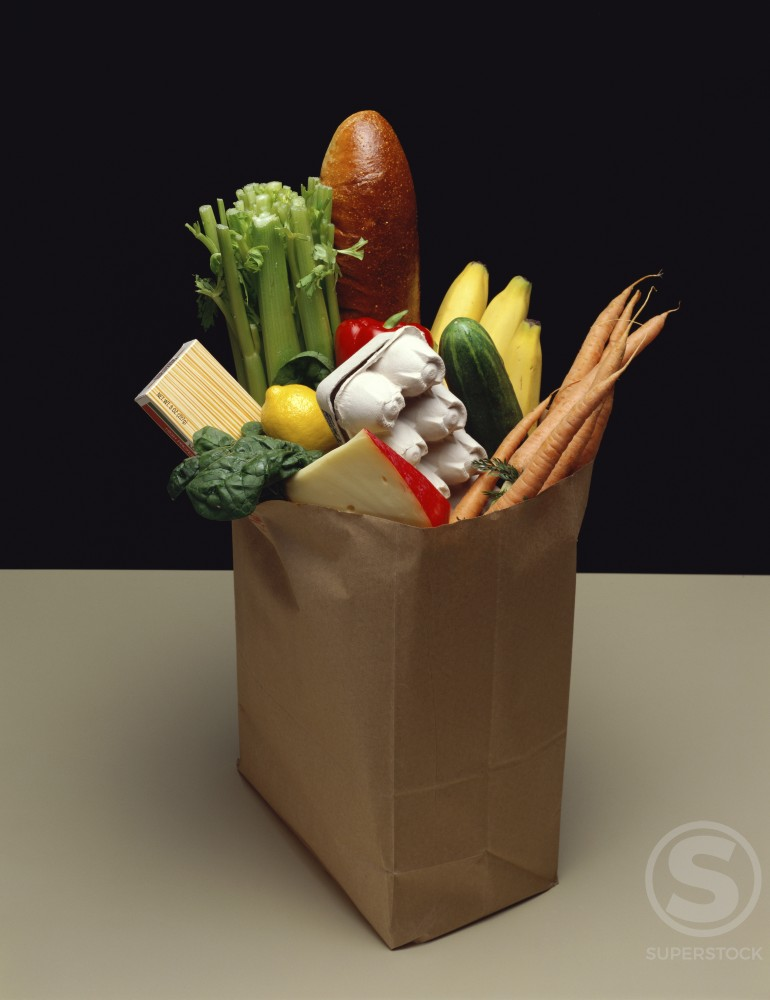 Stock Photo: 204-926 Close-up of groceries in a paper bag