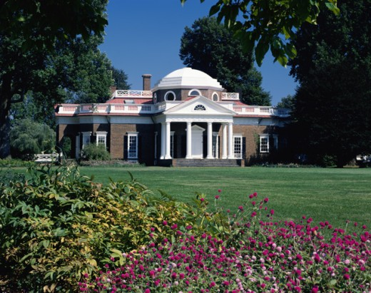 Facade of a house, Monticello, Home of Thomas Jefferson, Charlottesville, Virginia, USA : Stock Photo