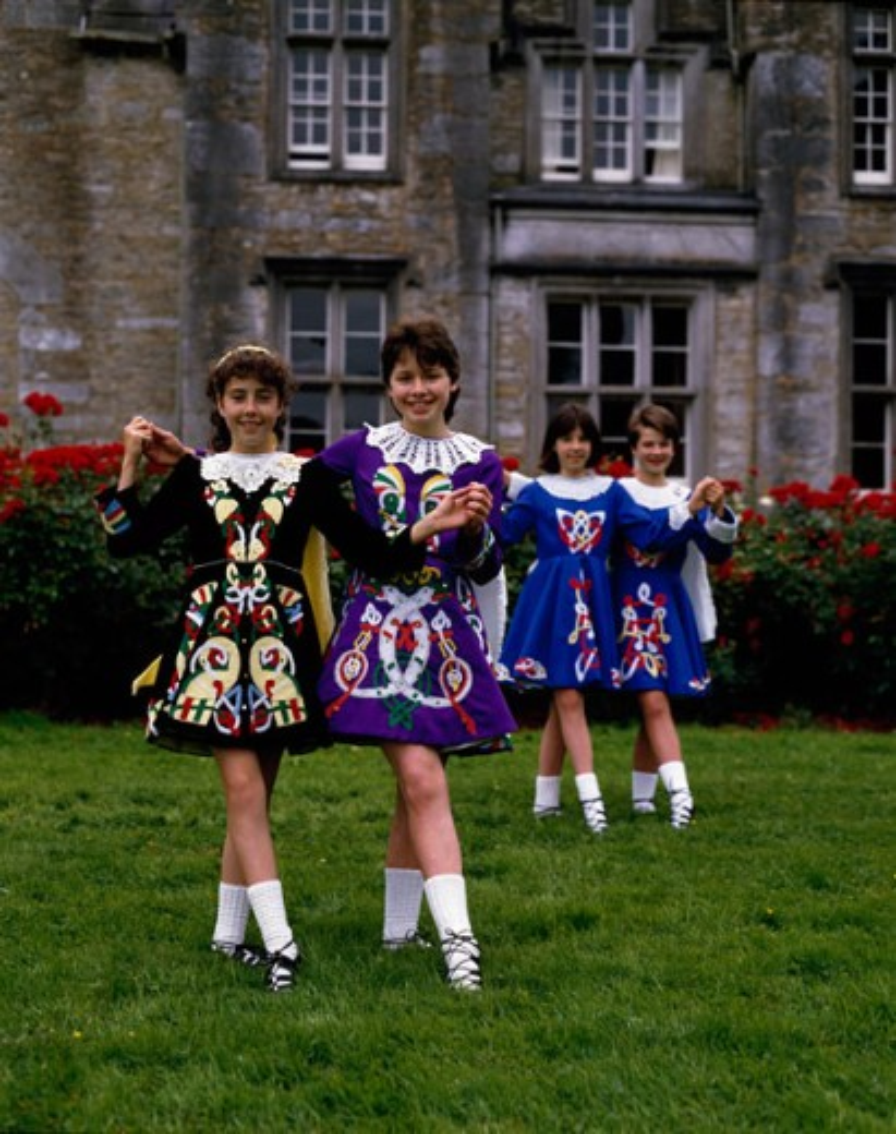 Stock Photo: 2056-594806 Four teenage girls dancing, Ireland