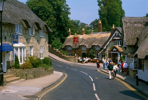 Stock Photo: 2056-Z218 England, Isle of Wight, Shanklin, road in town